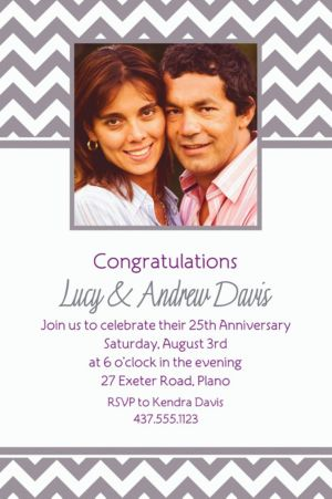 Custom Silver Chevron Photo Invitations