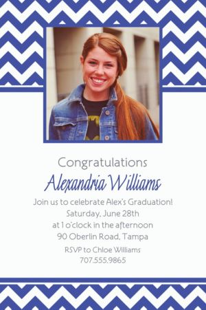 Custom Royal Blue Chevron Photo Invitations