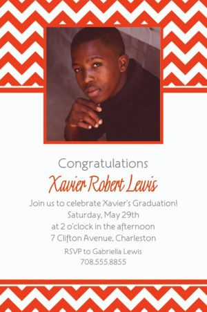 Custom Orange Chevron Photo Invitations