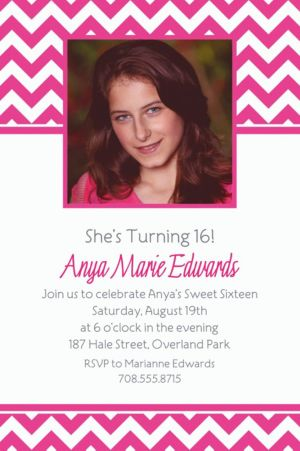 Custom Bright Pink Chevron Photo Invitations