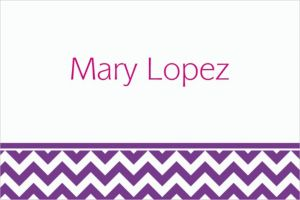 Custom Purple Chevron Thank You Notes