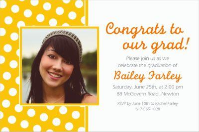 Custom Sunshine Yellow Polka Dot Photo Invitations