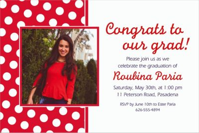 Custom Red Polka Dot Photo Invitations