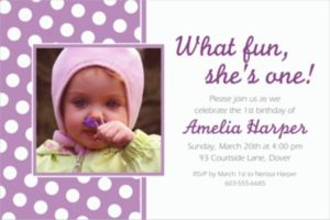 Custom Lavender Polka Dot Photo Invitations
