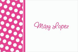 Custom Bright Pink Polka Dot Thank You Notes
