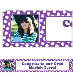 Custom Purple Polka Dot Photo Banner 6ft