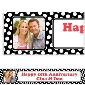 Custom Black Polka Dot Photo Banner 6ft
