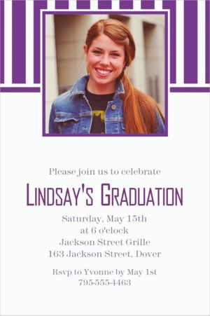 Custom Purple Stripe Photo Invitations