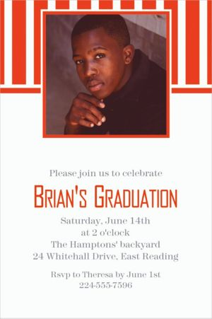 Custom Orange Stripe Photo Invitations