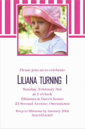 Custom Bright Pink Stripe Photo Invitations