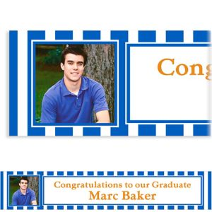 Custom Royal Blue Stripe Photo Banner 6ft