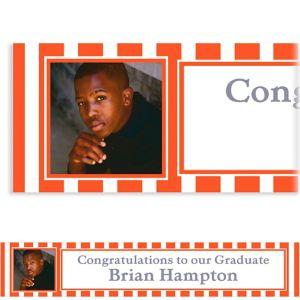 Custom Orange Stripe Photo Banner 6ft