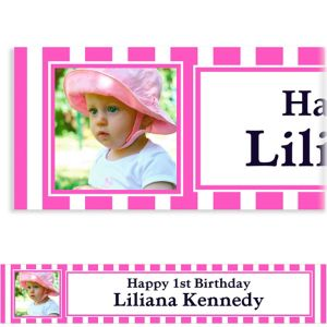 Custom Bright Pink Stripe Photo Banner 6ft