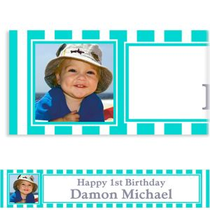 Custom Robin's Egg Blue Stripe Photo Banner 6ft
