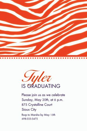 Custom Orange Zebra Invitations