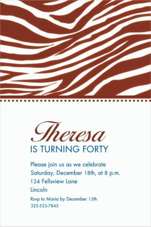 Custom Chocolate Brown Zebra Invitations