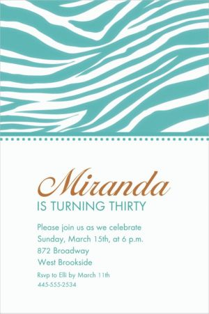 Custom Robin's Egg Blue Zebra Invitations