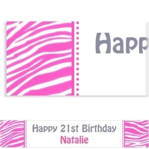 Custom Bright Pink Zebra Banner 6ft