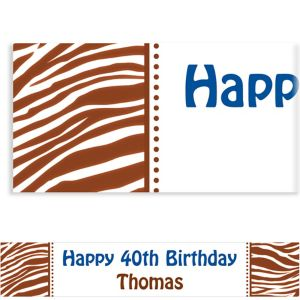 Custom Chocolate Brown Zebra Banner 6ft