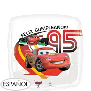Feliz Cumpleanos Cars Balloon - See Thru