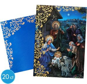 Golden Nativity Greeting Cards 20ct