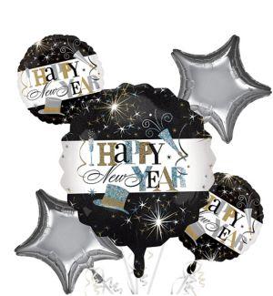 Happy New Year Balloon Bouquet 5pc - Elegant Celebration