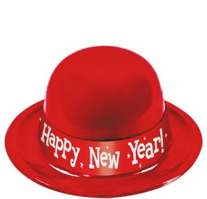 Red Happy New Year Derby Hat