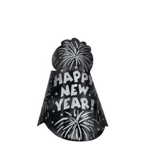 Glitter Star Black New Year's Cone Hat