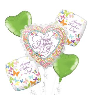White Trim Mother's Day Heart Balloon Bouquet 5pc