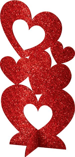 3D Glitter Heart Centerpiece