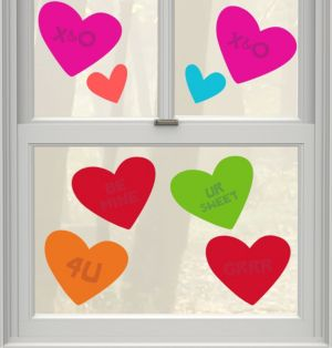 Sweetheart Gel Cling Decals 8ct