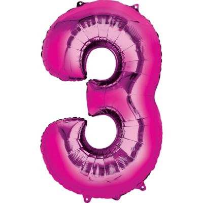 Bright Pink Number 3 Balloon