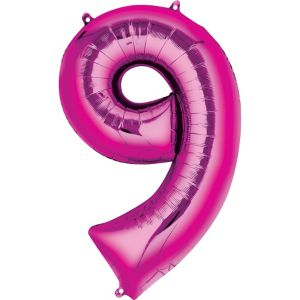 Giant Bright Pink Number 9 Balloon