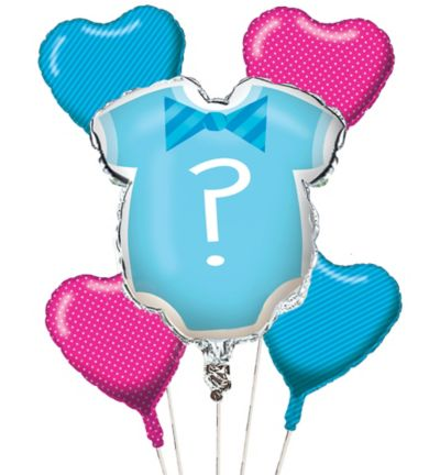 Little Man, Little Miss Gender Reveal Balloon Bouquet 5pc