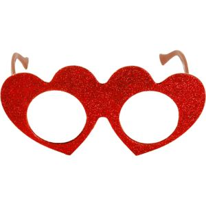 Red Valentine's Day Glitter Glasses
