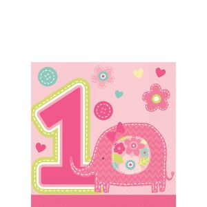 Wild at One Girl's 1st Birthday Beverage Napkins 16ct
