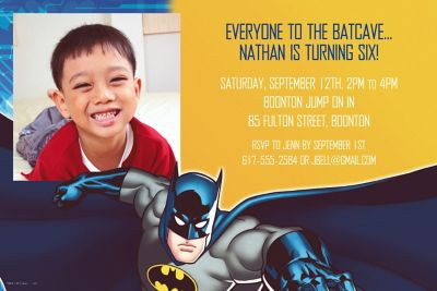 Custom Batman Photo Invitations