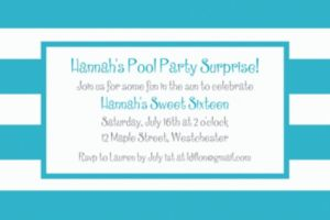 Custom Caribbean Blue Cabana Stripe Invitations