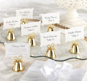 Gold Bow Kissing Bell Place Card Holders