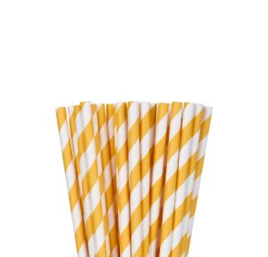 Sunshine Yellow Striped Paper Straws 24ct