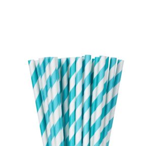 Robin's Egg Blue Striped Paper Straws 24ct