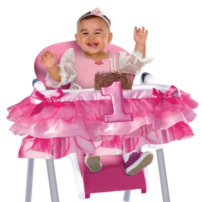 Deluxe pink 1st birthday high chair tutu party city for Baby girl first birthday decoration