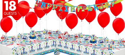 All Aboard 1st Birthday Party Supplies Deluxe Party Kit