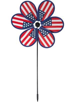 Patriotic American Flag Pinwheel Yard Stake