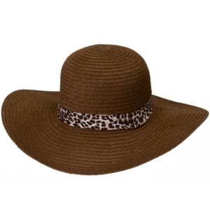 Leopard & Brown Floppy Straw Hat