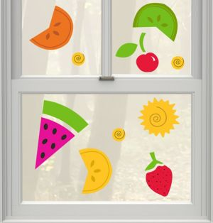 Summer Fruit Gel Cling Decals 20ct