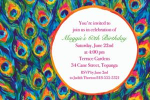 Custom Color Peacock Invitations