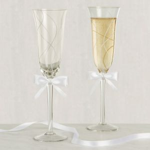 White Bow Swirl Wedding Toasting Glasses