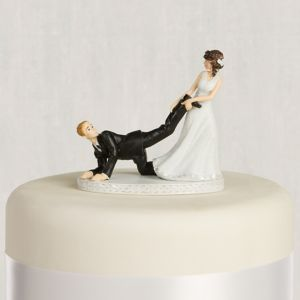 Leg Puller Bride & Groom Wedding Cake Topper