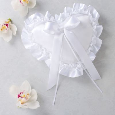White Heart Ring Bearer Pillow